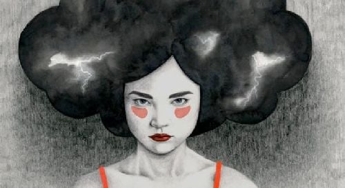 Kobieta i burza w głowie