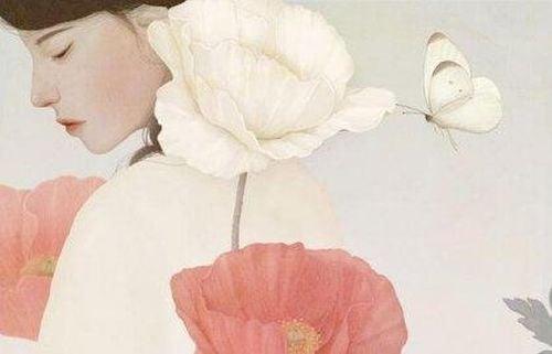 Kobieta, maki i biały motyl
