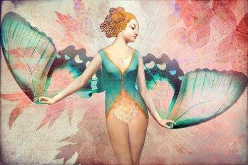 Kobieta ze skrzydłami motyla