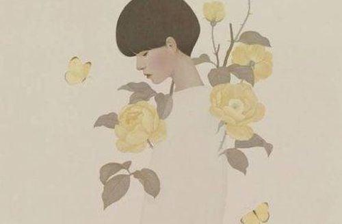 Kobieta i żółte kwiaty