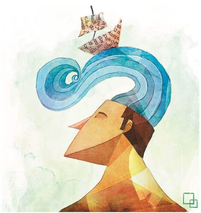Mężczyzna z falami oceanu na głowie.