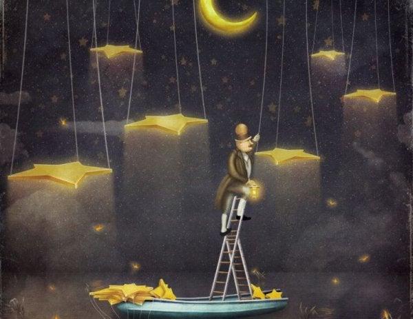 Moja rutyna - mężczyzna zawieszający gwiazdy.