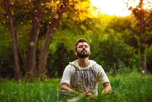 Mężczyzna medytujący na łące