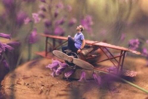 Mężczyzna w samolocie wśród kwiatów