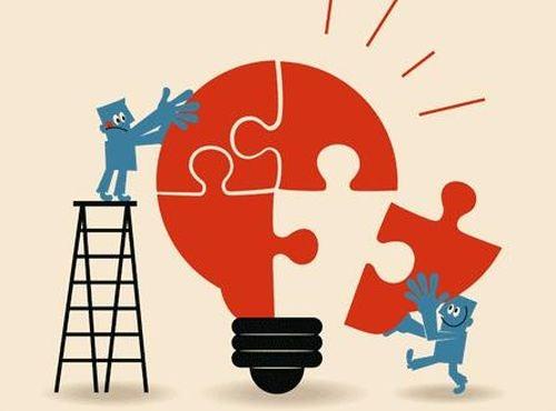 Procesy poznawcze - żarówka układana z puzzli