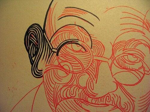 rysunek Gandhiego