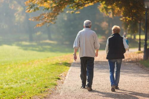 Starsza para - chodzenie dla zdrowia w parku