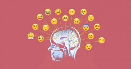 Świadomość emocjonalna - mózg z różnymi emotikonkami