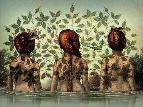 Trzy kobiety stoją tyłem w wodzie