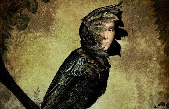 Kobieta zmieniona w ptaka.