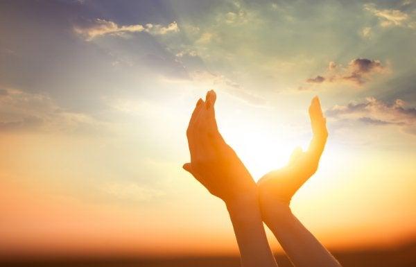 Dłonie trzymają słońce