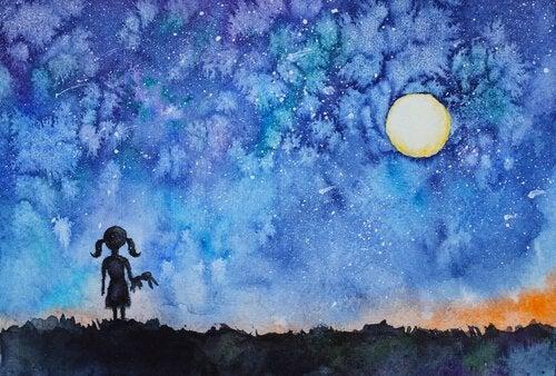 Wewnętrzne światło i dziewczynka patrząca w niebo