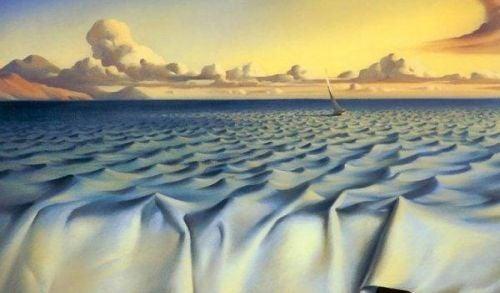 Fale oceanu z prześcieradła