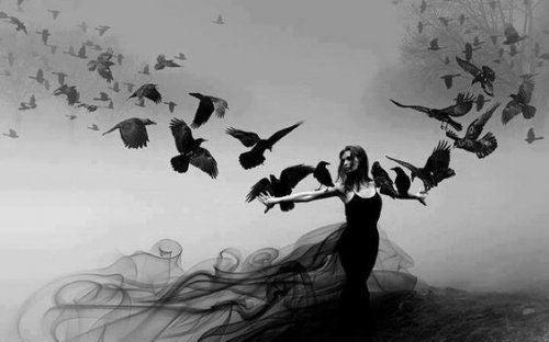 Kobieta i ptaki