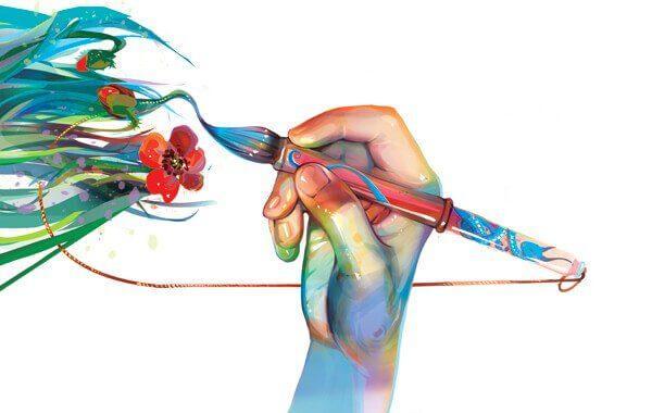 Ręka maluje kwiaty