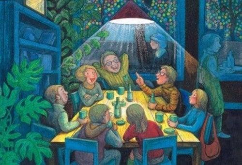 Rodzina za stołem