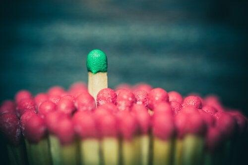 Czerwone i zielone zapałki.