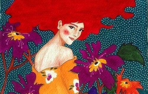 Zaangażowani ludzie: kobieta z kwiatami.