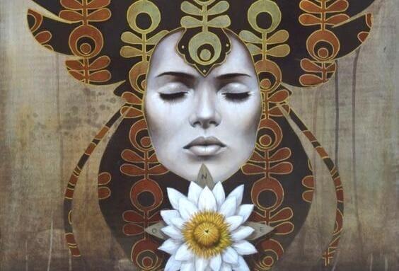 Twarz medytującej kobiety
