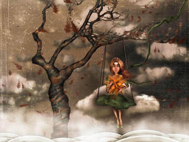 Kobieta na huśtawce w chmurach