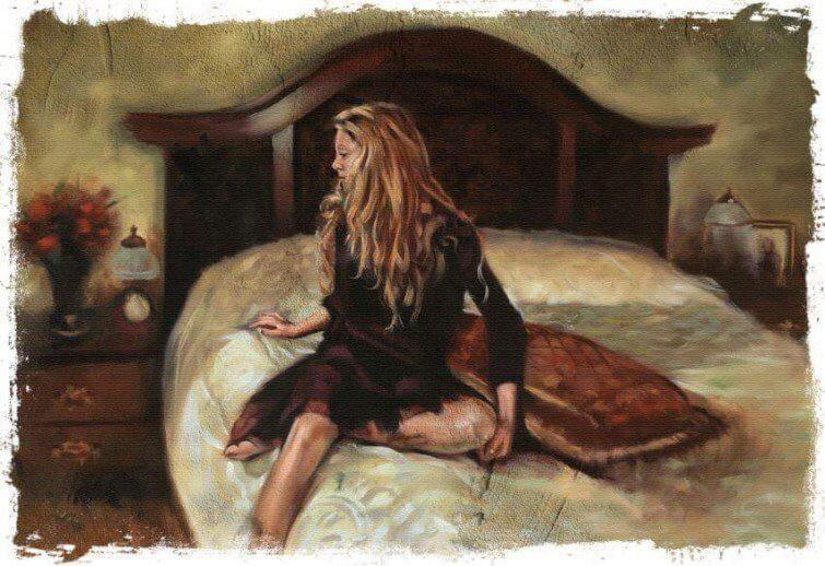 kobieta na łóżku źle się czuje