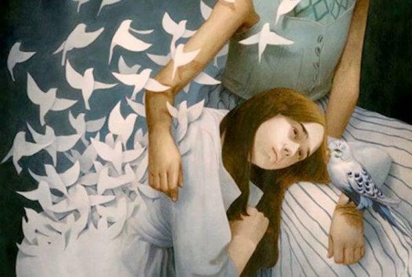 kobieta i gołębie
