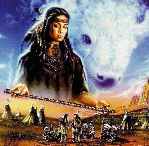 kobieta biały bawół nad plemieniem