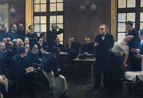 Charcot przeprowadzający zajęcia