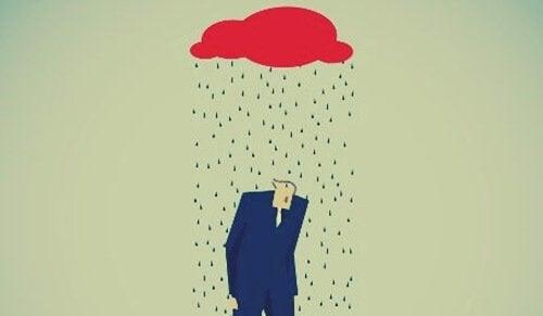 mężczyzna i chmura - objawy depresji