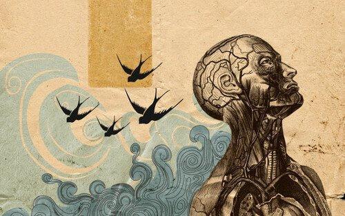 Psychoterapia egzystencjalna - ilustracja przedstawiająca człowieka patrzącego w górę