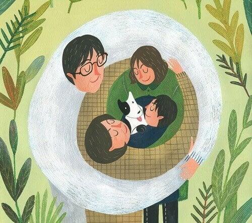 Przytulona rodzina