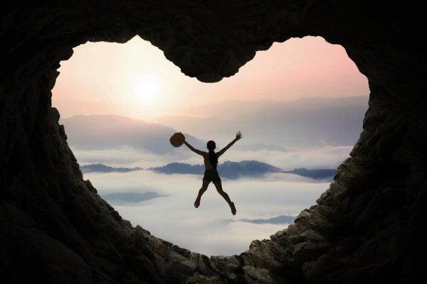 skok w jaskini