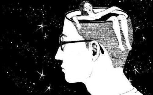kobieta w głowie mężczyzny