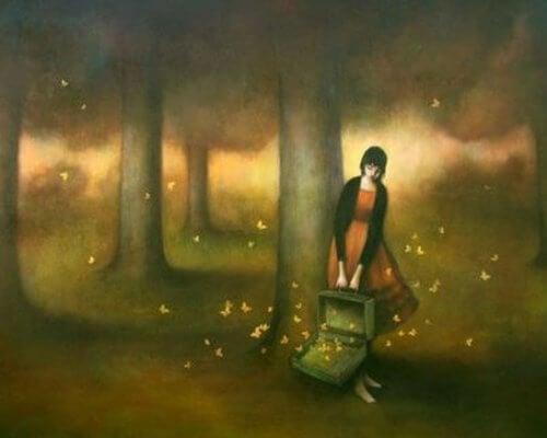 Dziewczynka z walizką.