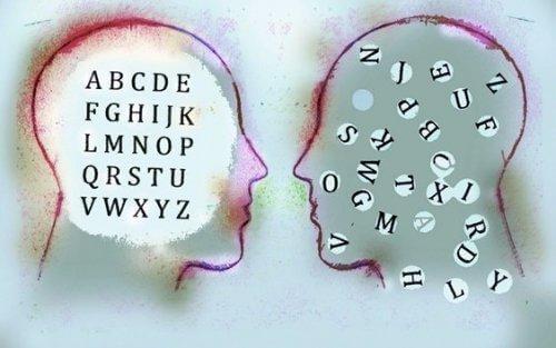 Ilustracja dwóch głów z literami w środku