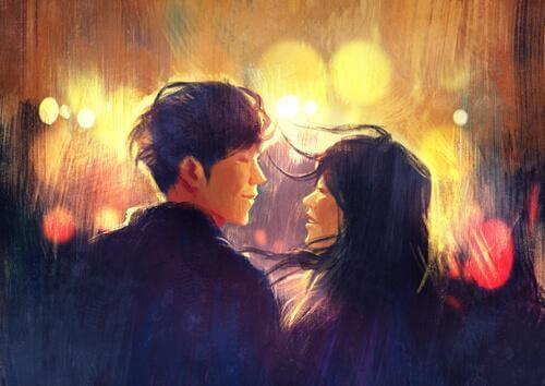 Teraz - Chłopak i dziewczyna patrzą na siebie