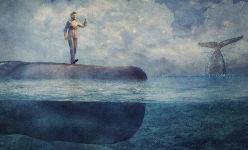 Człowiek ma sen o wielorybie
