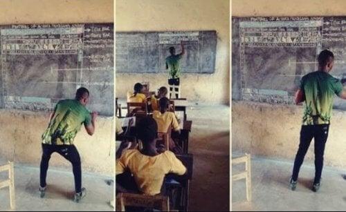 Nastawienie i inspiracja: nauczyciel z Ghany, który uczy IT kredą na tablicy