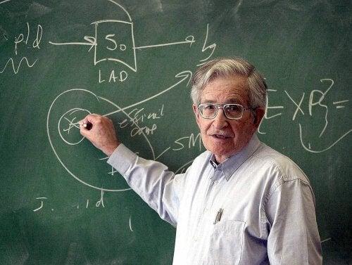 Noam Chomsky przy tablicy