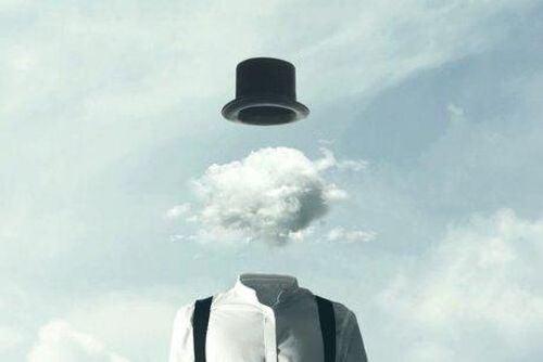 Człowiek z chmurą zamiast głowy