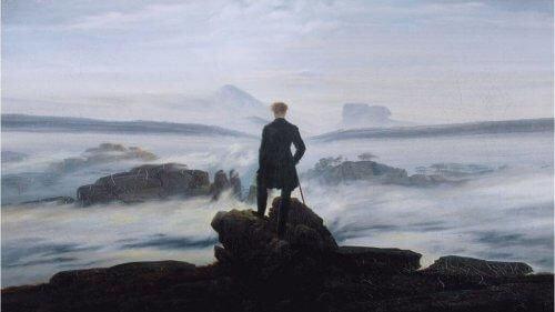 Georg Wilhelm Friedrich Hegel na skarpie patrzy na wzburzone morze