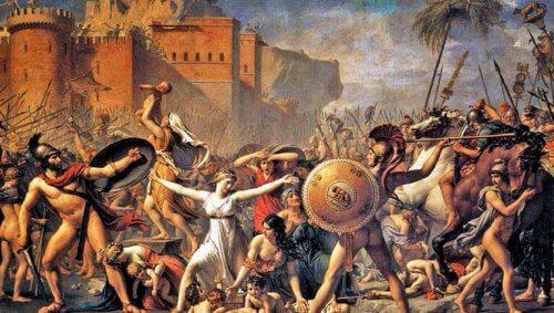 Obraz przedstawiający walczących ludzi