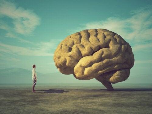 Mężczyzna na pustyni patrzy na wielki mózg