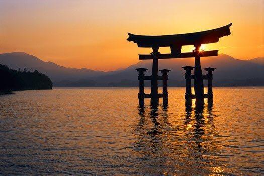 Zachód słońca w Japonii