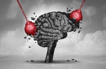 Mózg niszczony kulami na łańcuchach