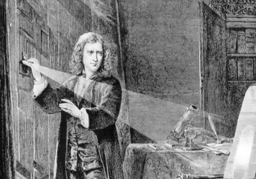 Isaac Newton eksperymentujący ze światłem