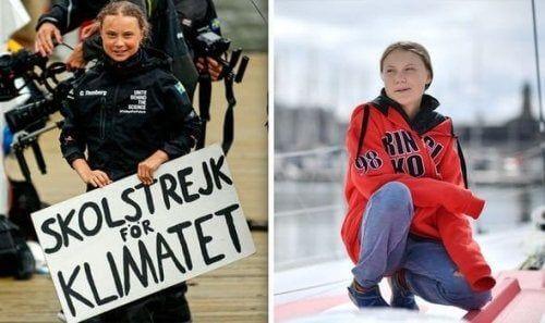 Greta w czasie protestu