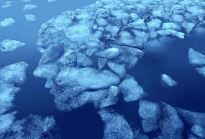 Kra lodowa układająca się w twarz