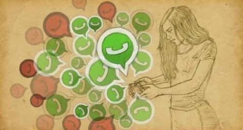 Logo WhatsApp wychodzące z telefonu - wysyłanie wiadomości w związkach