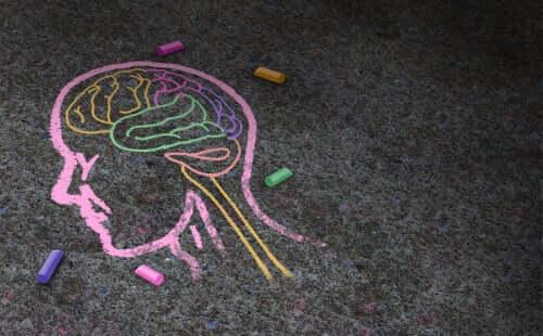 Mózg narysowany kredą na asfalcie